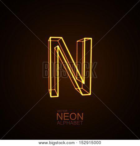 Neon 3D letter N. Typographic vector element for design. Part of glow neon alphabet. Vector illustration