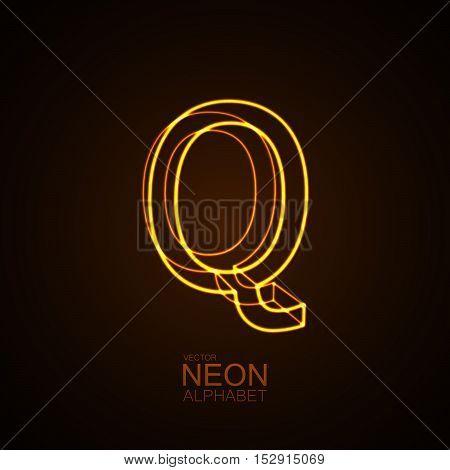 Neon 3D letter Q. Typographic vector element for design. Part of glow neon alphabet. Vector illustration