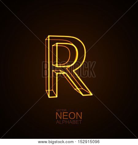 Neon 3D letter R. Typographic vector element for design. Part of glow neon alphabet. Vector illustration