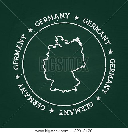 White Chalk Texture Rubber Seal With Federal Republic Of Germany Map On A Green Blackboard. Grunge R