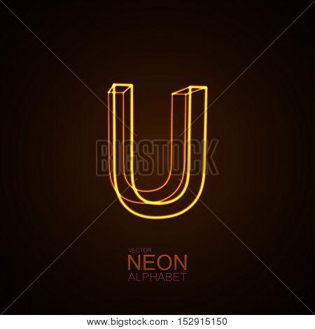 Neon 3D letter U. Typographic vector element for design. Part of glow neon alphabet. Vector illustration