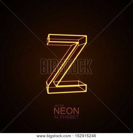 Neon 3D letter Z. Typographic vector element for design. Part of glow neon alphabet. Vector illustration