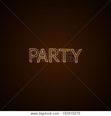 Party neon sign. Vector typographical neon illustration.