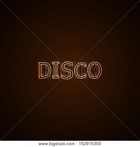Disco neon sign. Vector typographical neon illustration.