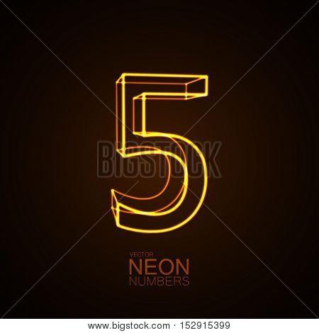 Neon 3D number 5. Typographic vector element for design. Part of glow neon alphabet. Digit five. Vector illustration