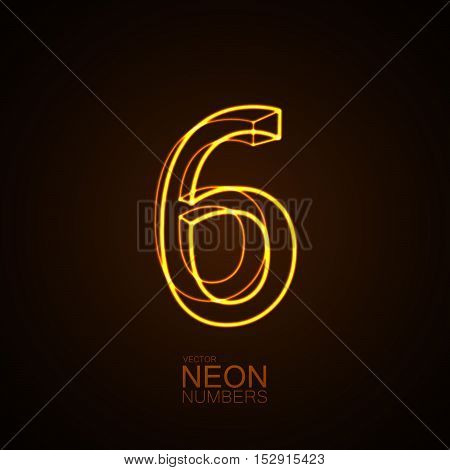Neon 3D number 6. Typographic vector element for design. Part of glow neon alphabet. Digit six. Vector illustration