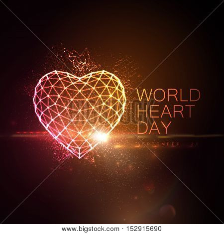 World Heart Day Background. 3D illuminated neon heart of glowing particles, wireframe, lens flare light effect and World Heart Day 29 September label. Vector illustration. Medical awareness day concept