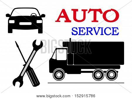 car truck wrench screwdriver and the inscription auto repair
