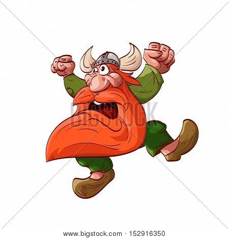 Colorful vector illustration of a cartoon dwarf warrior wearing green clothes and horned helm jumping acting crazy battle cry.
