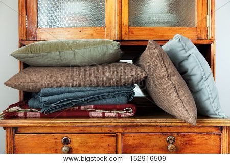 Pillows Lie Buffet House Furniture Storage Retro