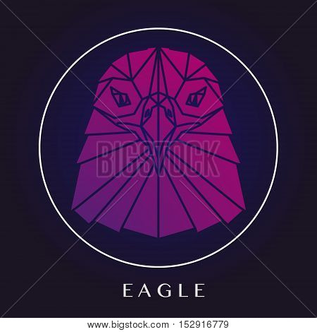 Eagle head triangular element logo geometric pattern trendy line design. Pink eagle polygonal portrait. Abstract low poly design.