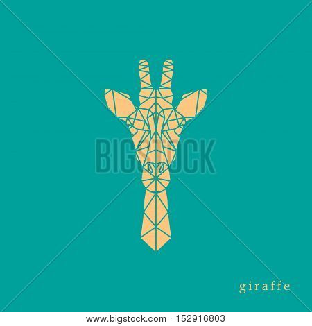Giraffe head geometric lines silhouette isolated on green background. Yellow eagle polygonal portrait. Abstract low poly design.