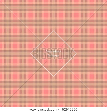Plaid fabric cage back pattern Red and Brown. Seamless pattern. Vector illustration.