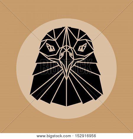 Eagle head triangular element logo geometric pattern trendy line design. Black warior eagle polygonal portrait. Abstract low poly design.