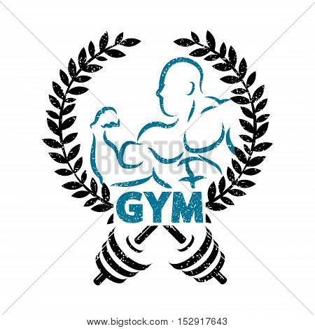 Sign for gym and fitness athlete and dumbbells