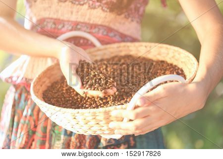 Woman with basket of roasted coffee beans, closeup