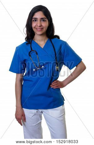 Laughing arabic nurse on an isolated white background for cut out