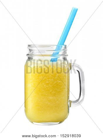 Glass jar of fresh delicious smoothie with straw on white background, closeup