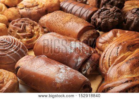 Assortment of fresh pastries, closeup