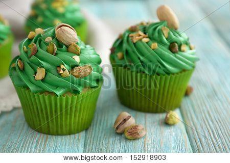 Pistachio cupcakes, closeup