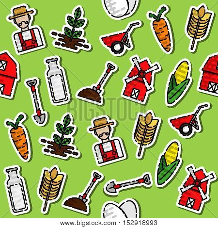 Farm pattern with buildings trees animals products and characters in color vector illustration