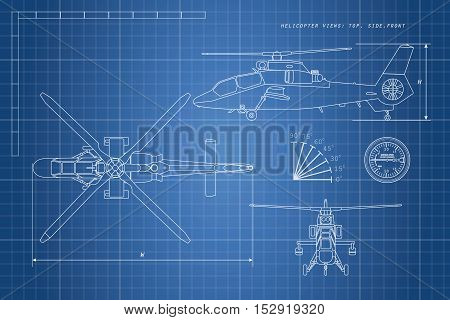 Engineering drawing of helicopter. Helicopters view: top side front. Vector illustration