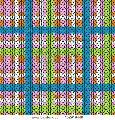 Knitting Checkered Seamless Pattern In Various Colors