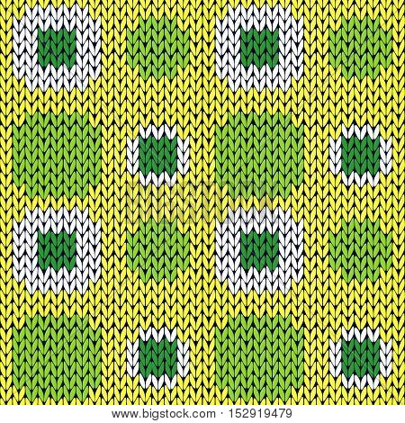 Seamless Knitting Pattern In Green Yellow And White Colors