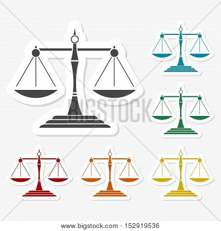 Multicolored paper stickers - Justice scales silhouette vector
