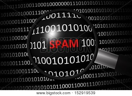 Binary code with spam and magnifying lens on black background