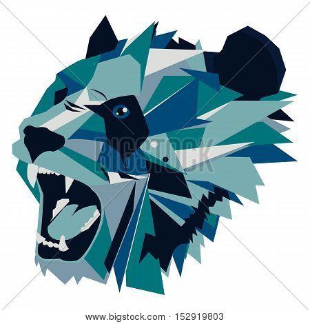 Vector illustration of geometric roaring bear panda