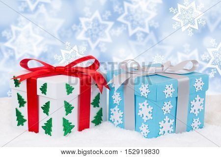 Christmas Distribution Of Gifts Decoration Snow Winter With Copyspace