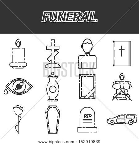 Funeral icons set with ash candle church isolated vector illustration