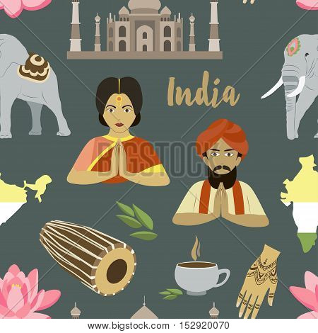 Country India travel vacation guide of goods, place and feature. Pattern of architecture, fashion, people, item, background concept.