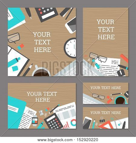 Set of banners workplace collection concept office items, equipment, and mobile devices, flat design icon, top view - vector illustration. The clock, notepad, keyboard, mouse, pencil, calculator and others.