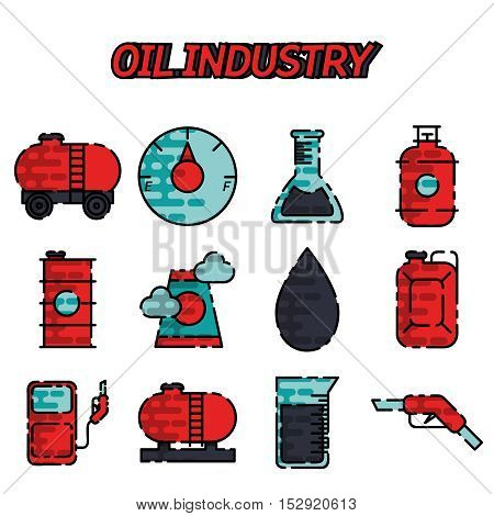 Oil industry flat icon set. Business concept. Vector illustration, EPS 10