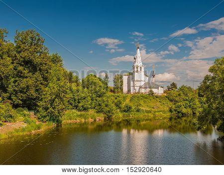 Cosmas and Damian Church or Kozmodemyansk church on Yarunovo mountain - Orthodox church in Suzdal on the left bank of the Kamenka River Russia. Golden Ring of Russia.