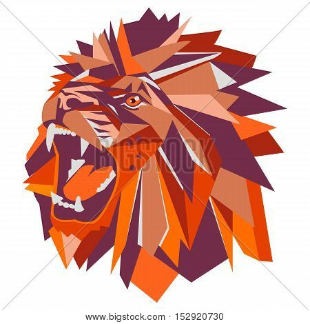Vector illustration of geometric lion head. Bright colors