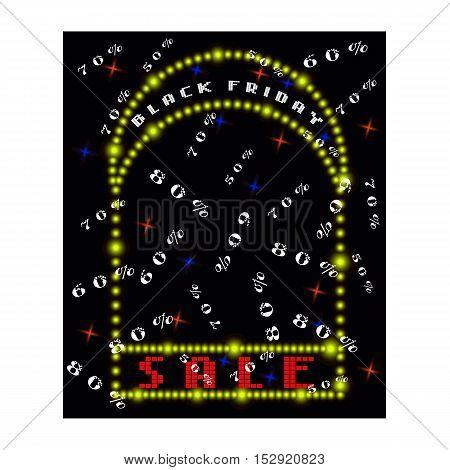 Design poster for black friday sales. Black white lights background.