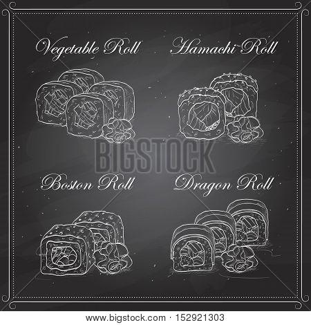 Vector Sushi sketch, set of four types of sushi on a blackboard