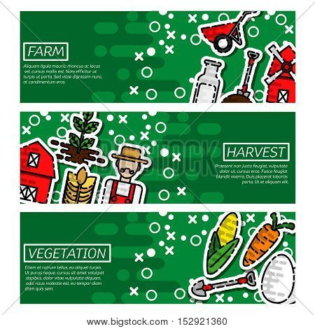 Three horizontal cow farm milk banner set with milk natural product. Vector illustration, EPS 10