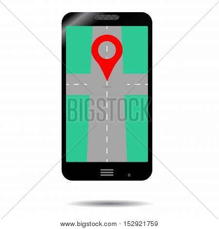 Smartphone GPS icon. App for transportation gadget and cartography illustration