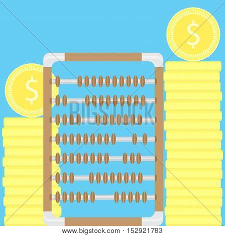 Count money. Stacks of coins and abacus. Money counting machine money stack and counting coins accounting vector illustration
