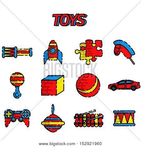 Toys flat icon set on white background, Vector illustration