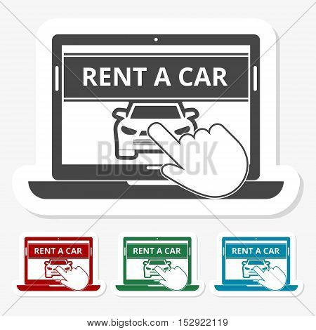 Multicolored paper stickers - Rent a Car Transportation design
