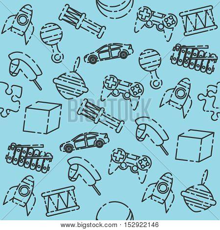 Toys pattern. Variety of childrens toys. Vector illustration, EPS 10