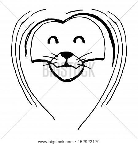 Hand sketch of lion head with mane. Lion drawing and animal sketch hand drawn lion vector illustration