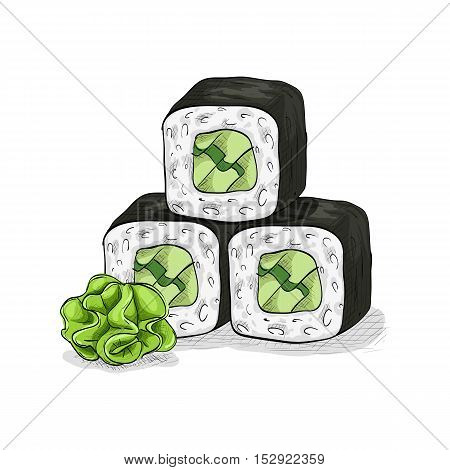 Vector sushi color sketch, Cucumber roll. Japanese cuisine, traditional food icon. Perfect isolated vector illustration