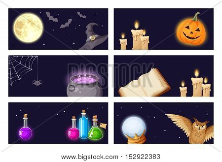 Vector Halloween banners with magic symbols: book, cauldron, owl, spider web, jack-o-lantern, bats, broom, flasks, crystal ball, moon, stars, witches hat and candles.