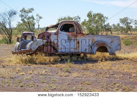 Rusty old car in outback Queensland Australia